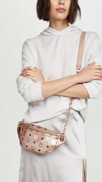 MCM essential visetos original mini crossbody bag in champagne gold