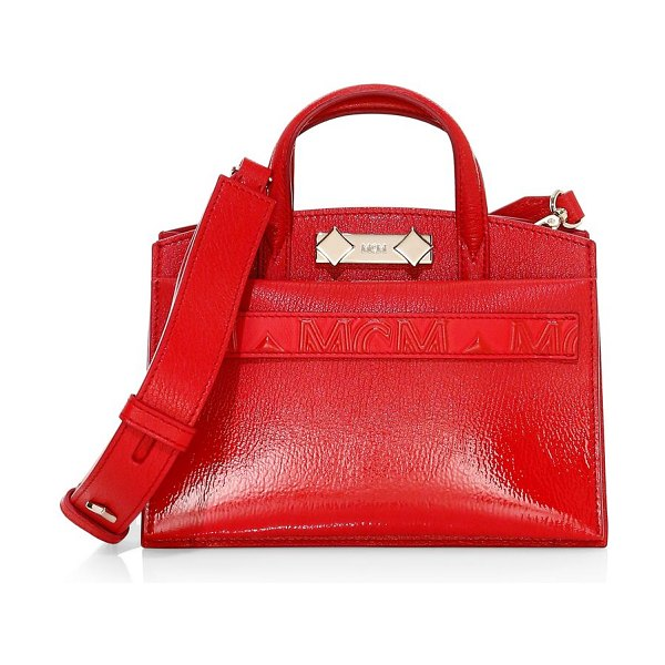 MCM mini milano patent leather tote in ruby red
