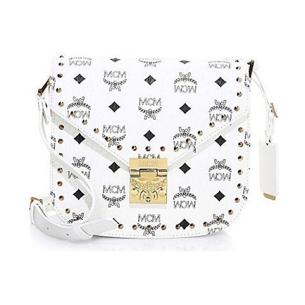 MCM small patricia visetos coated canvas shoulder bag in white - Allover graphic logo adorns this sleek coated canvas...