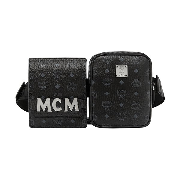 MCM Stark Double Logo Belt Bag in black - MCM double belt bag in logo-embossed coated canvas with...