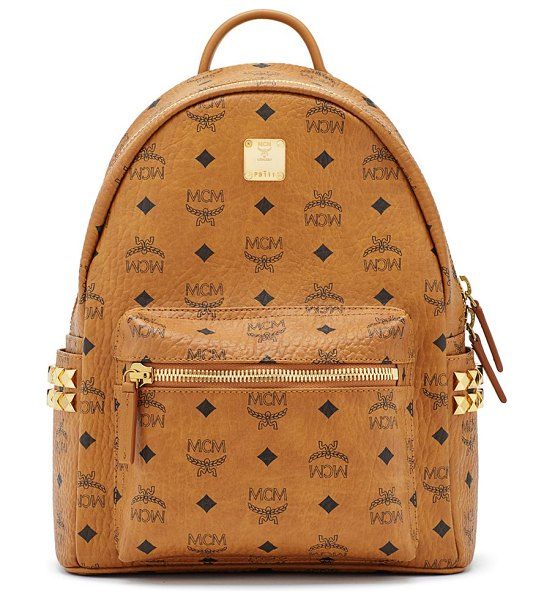 MCM stark visetos studded backpack in cognac