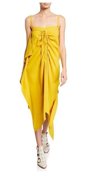 McQ by Alexander McQueen Draped Drawstring Midi Dress w/ Removable Straps in yellow