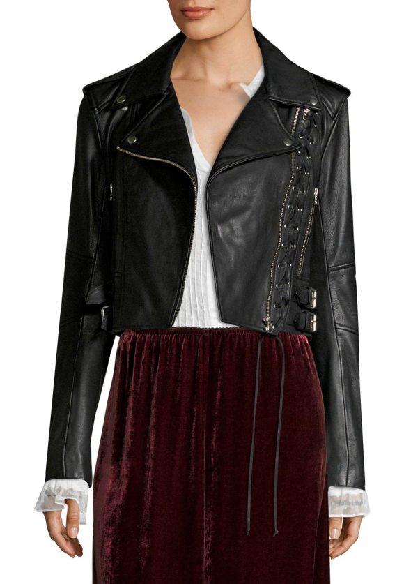 MCQ BY ALEXANDER MCQUEEN lace-up leather moto jacket - Edgy lace-up detail accents leather moto jacket. Notch...