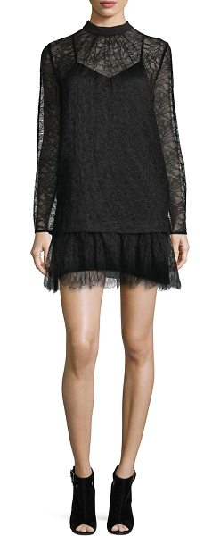 16c10c31fdc7c McQ by Alexander McQueen Long-Sleeve Lace Shift Dress in Black ...