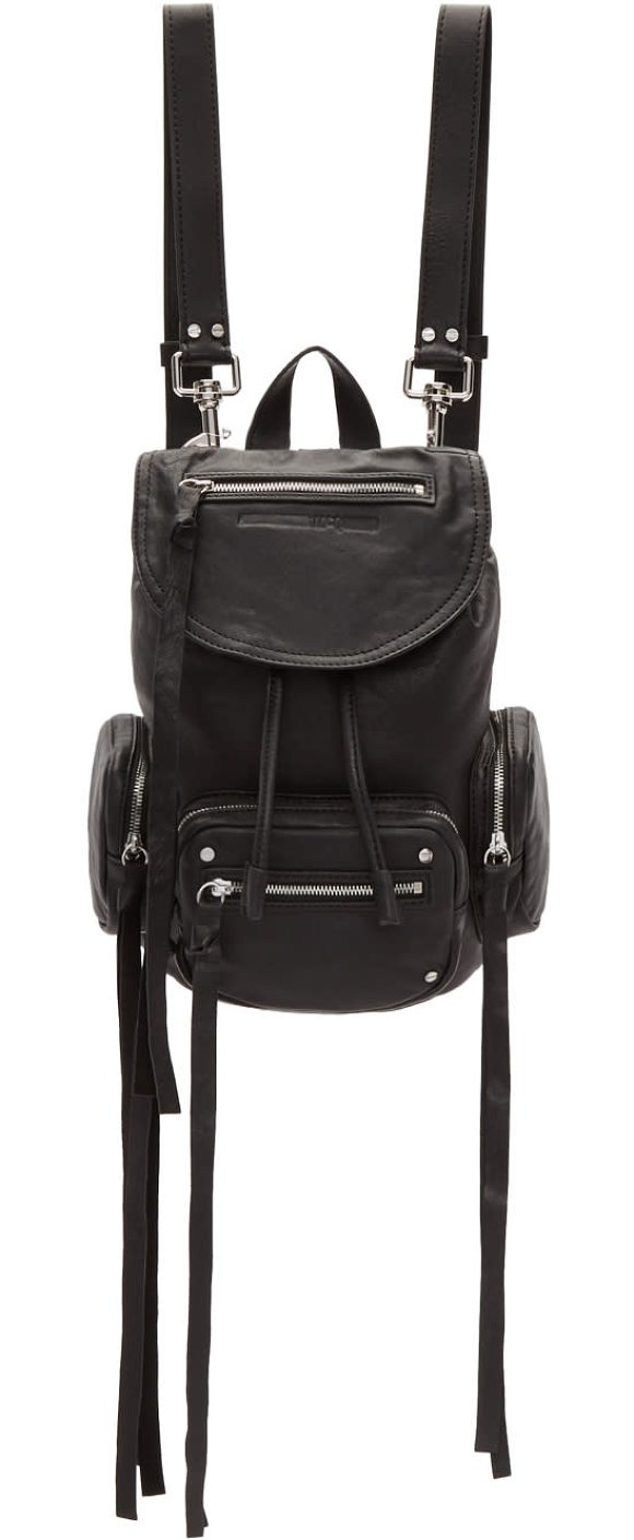 Mcq By Alexander Mcqueen Mini Convertible Drawstring Backpack In Black Distressed Lambskin