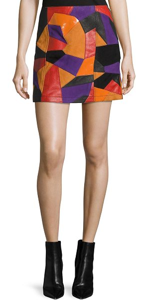McQ by Alexander McQueen Patch-Cut Colorblocked Leather Skirt in multi - McQ Alexander McQueen skirt in multicolor patch-cut...