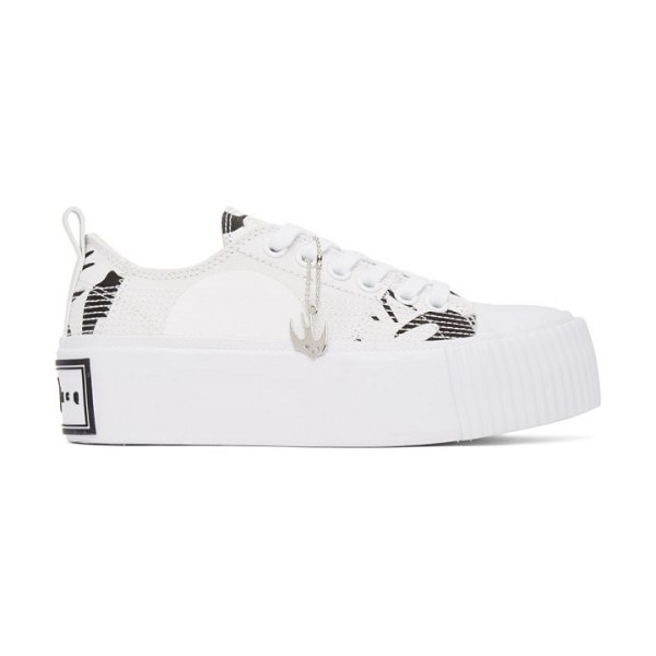 McQ by Alexander McQueen white and black plimsoll platform low sneakers in 9024 wht,bk