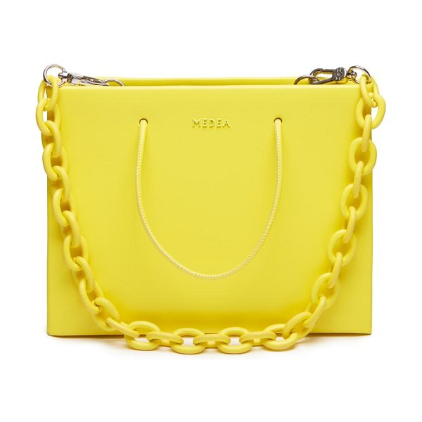 Medea hanna chain strap leather bag in safety yellow