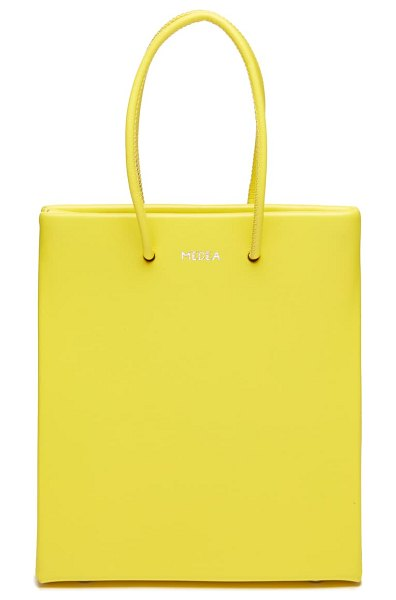 Medea short calfskin leather bag in safety yellow