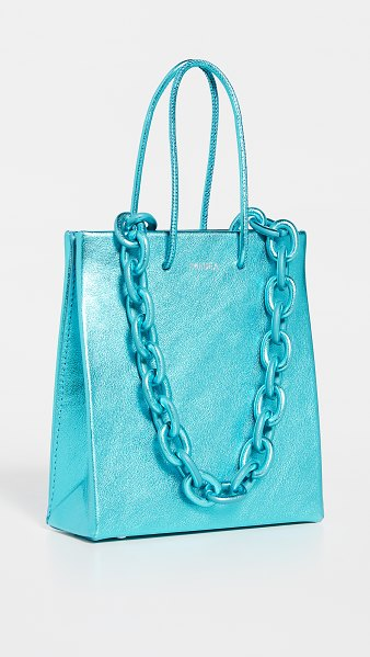Medea short leather chain bag in metallic blue