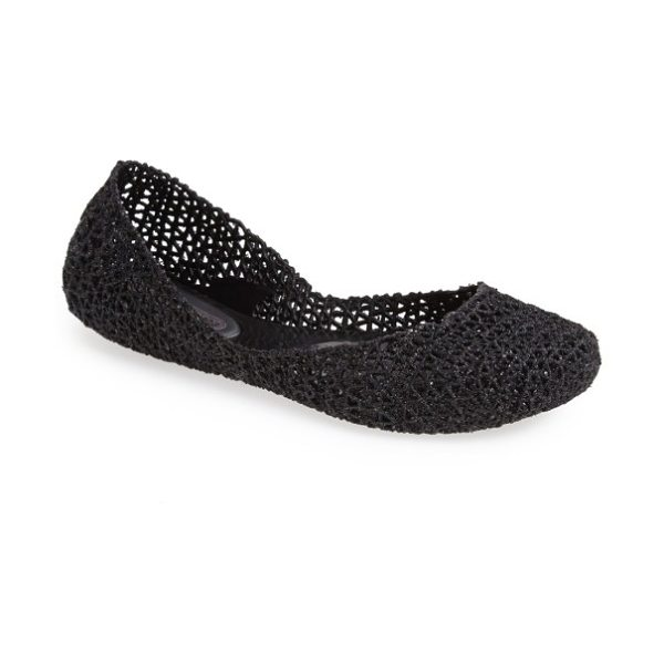 Melissa 'campana papel vii' jelly flat in black glitter