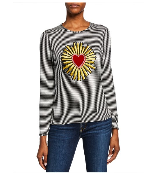 Melissa Masse The Madonna Striped Heart/Halo Long-Sleeve Crewneck Top in black/ivory