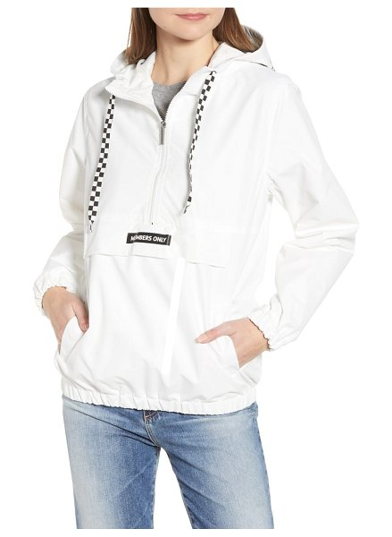 Members Only hooded anorak in white - Checkered drawstrings further the sporty vibe of this...