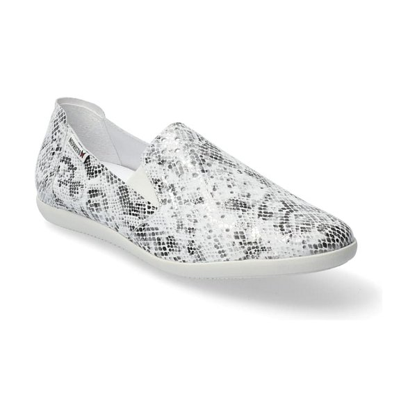 Mephisto korie perforated slip-on in stone reptile print leather