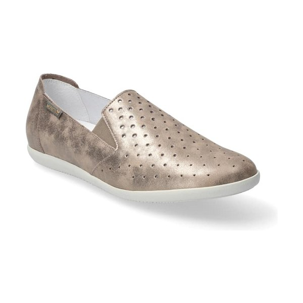 Mephisto korie perforated slip-on in dark taupe smooth leather