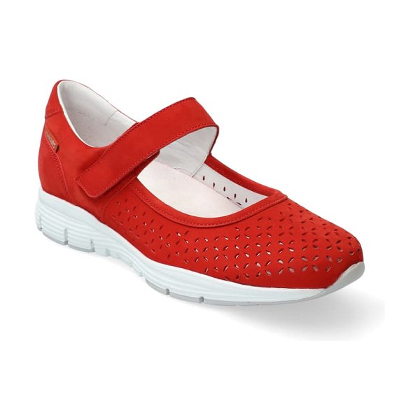 Mephisto yelina perforated mary jane sneaker in scarlet nubuck leather