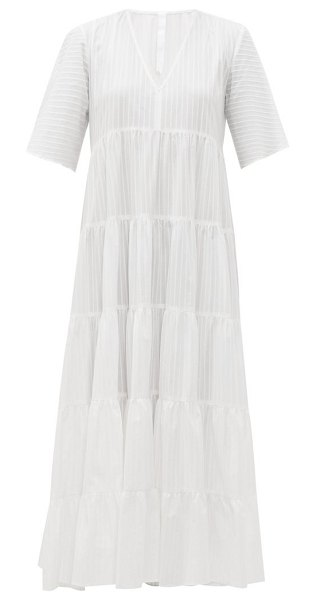 MERLETTE sinharaja striped cotton maxi dress in white