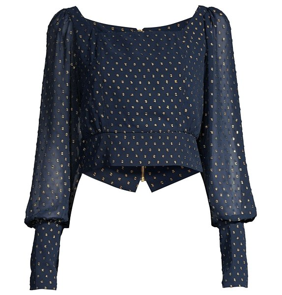 Mestiza New York aurora luca embroidered puff-sleeve top in navy gold