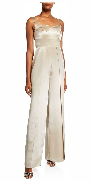 Mestiza New York Liza Sleeveless Wide-Leg Satin Jumpsuit in champagne
