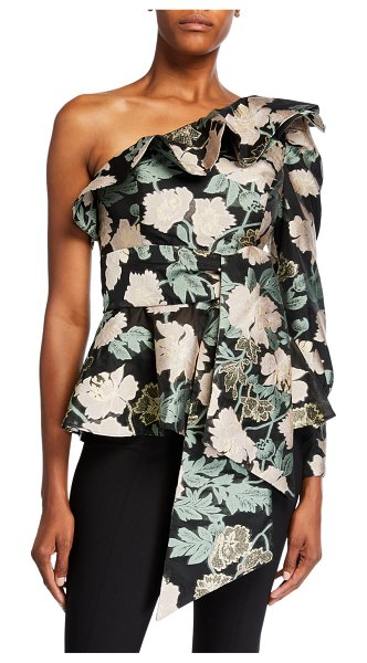 Mestiza New York Micaela Floral Jacquard One-Shoulder Ruffle Top in black pattern