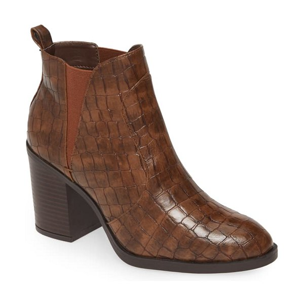 MIA hart faux leather bootie in cognac faux leather