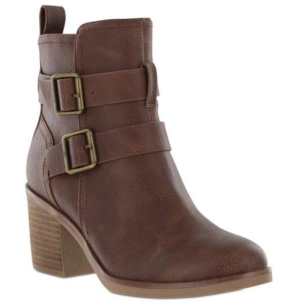 MIA omar buckle bootie in luggage