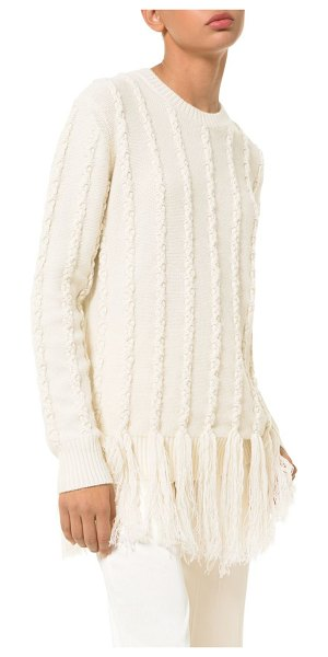 Michael Kors Collection braided fringe sweater in ecru