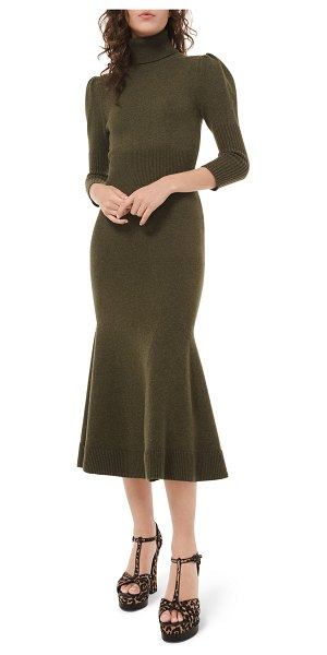 Michael Kors Collection Cashmere Puff-Sleeve Midi Dress in green