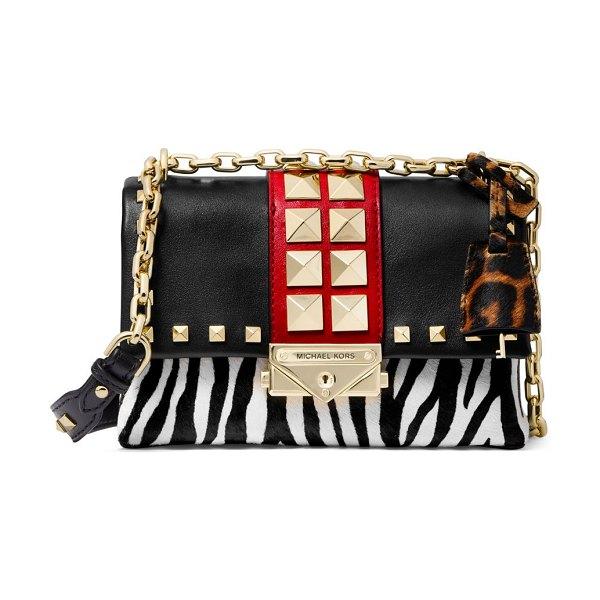 MICHAEL Michael Kors extra-small cece animal-print calf hair & leather crossbody in black multi