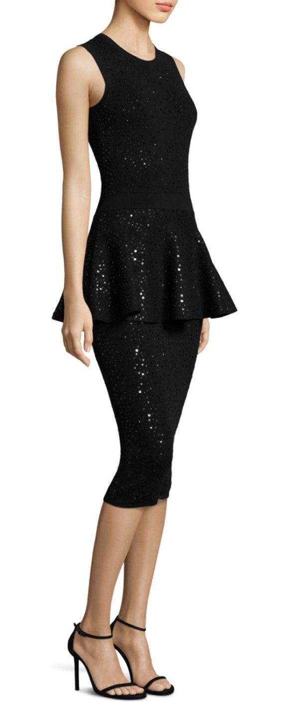 MICHAEL KORS COLLECTION crewneck peplum dress - Elegant peplum dress with radiant sequin accents. Crewneck....