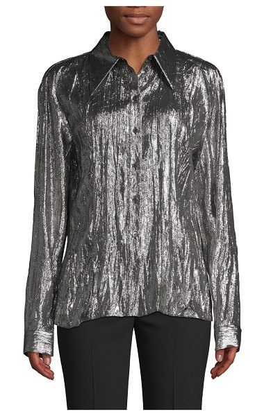 Michael Kors Collection Crushed Metallic Lamé Shirt in silver