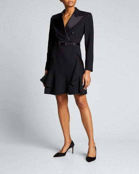 Michael Kors Collection Double-Breasted Crepe Belted Coat Dress in black