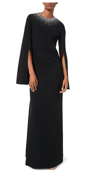 Michael Kors Collection Embroidered-Neck Tunic Crepe Gown in black
