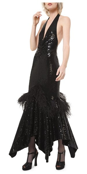 Michael Kors Collection Feather-Detail Sequined Halter Dress in black