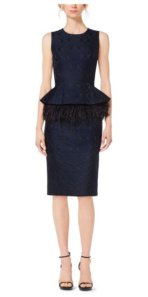 MICHAEL KORS COLLECTION Feather-Embroidered Peplum Damask Jacquard Dress - I Thought About The Opulence Of Textiles With This...