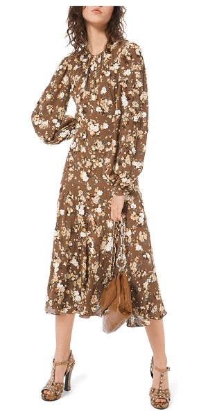 Michael Kors Collection Floral-Embroidered Blouson Sleeve Midi Dress in brown pattern