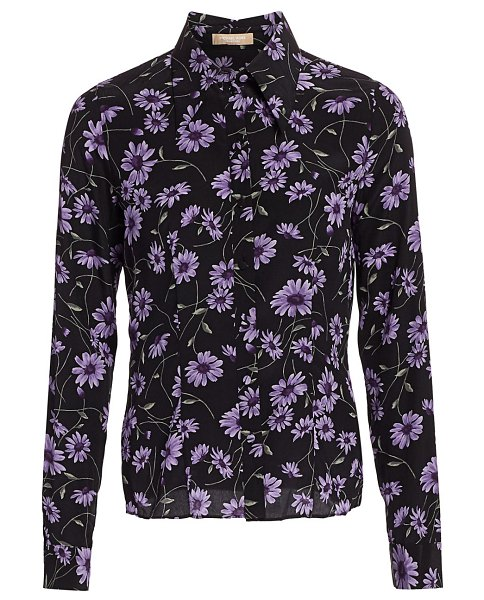Michael Kors Collection floral silk button-down shirt in dahlia multi