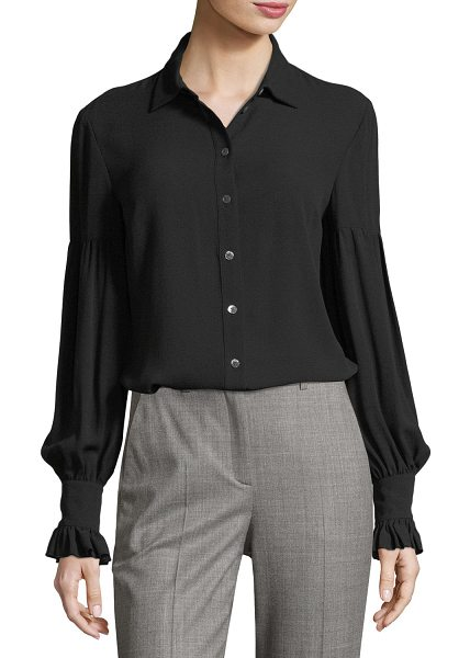 MICHAEL KORS COLLECTION Gathered-Sleeve Silk Shirt - Michael Kors Collection shirt in semisheer georgette....