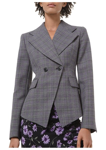 Michael Kors Collection Glen Plaid Pressed Wool Double-Breasted Blazer in purple pattern