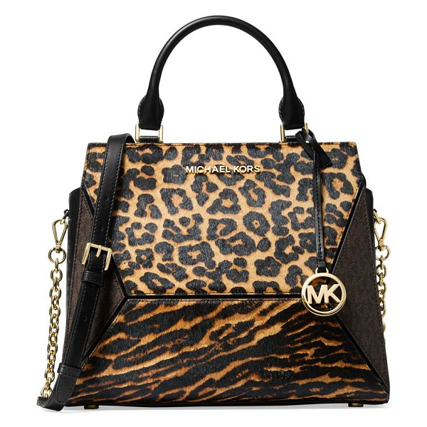 Michael Kors Collection large prism leopard-print calf hair leather satchel in brown multi