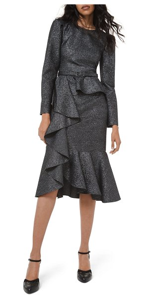 Michael Kors Collection Long-Sleeve Asymmetric Cocktail Dress in black/silver