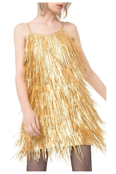 Michael Kors Collection Metallic Fringed-Leather Slip Dress in gold