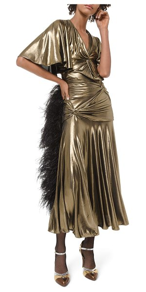Michael Kors Collection Metallic Ruched Cocktail Dress in gold
