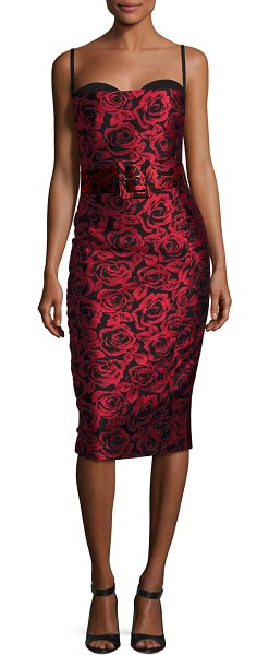 b3d1ee477bf Michael Kors Collection Rose Jacquard Sleeveless Cocktail Dress in  red black - Michael Kors Collection