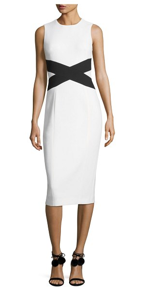 Michael Kors Collection Sleeveless Contrast X Sheath Dress in white - Michael Kors Collection sheath dress in boucle crepe...