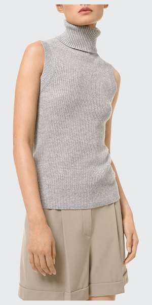 Michael Kors Collection Solid Wool Rib-Knit Sleeveless Turtleneck Sweater in pearl grey
