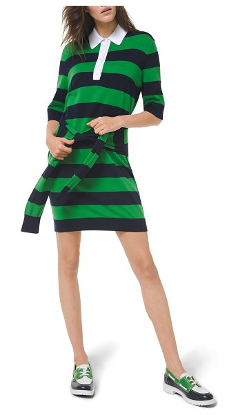 Michael Kors Collection Striped Tie-Waist Knit Polo Dress in blue/green