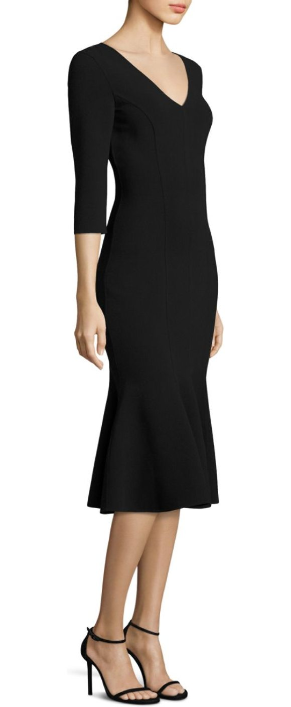 Michael Kors Collection v-neck flare dress in black - Flare dress in luxurious wool-blend. Deep V-neck....