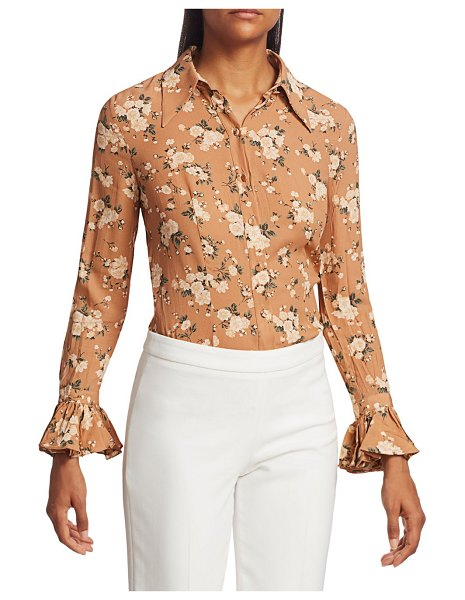 Michael Kors Collection Crushed Silk Bell-Sleeve Shirt in sun tan ivory