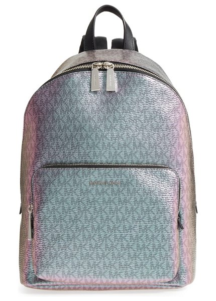 Michael Kors michael  wythe large faux leather backpack in blue - A prismatic metallic finish adds eye-catching gleam to a...